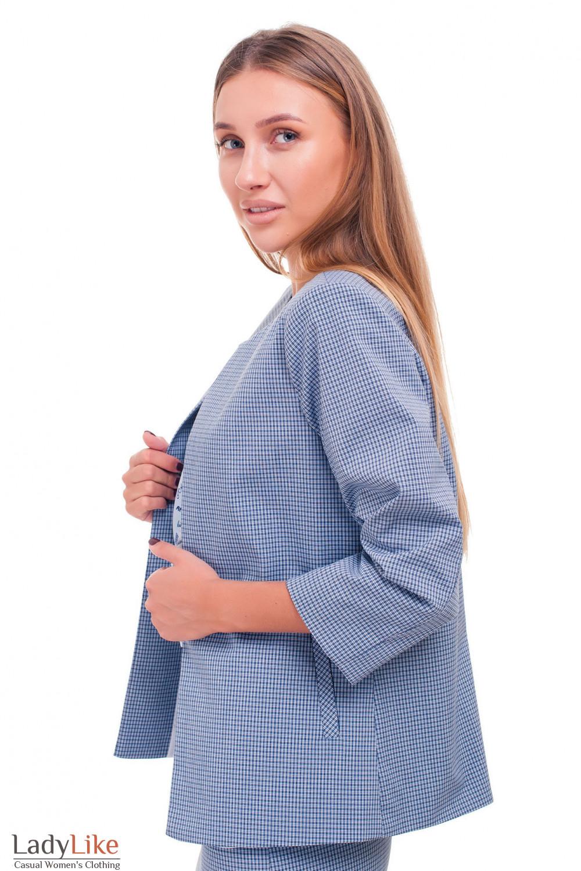 Купить кардиган короткий в синюю клеточку Деловая женская одежда фото