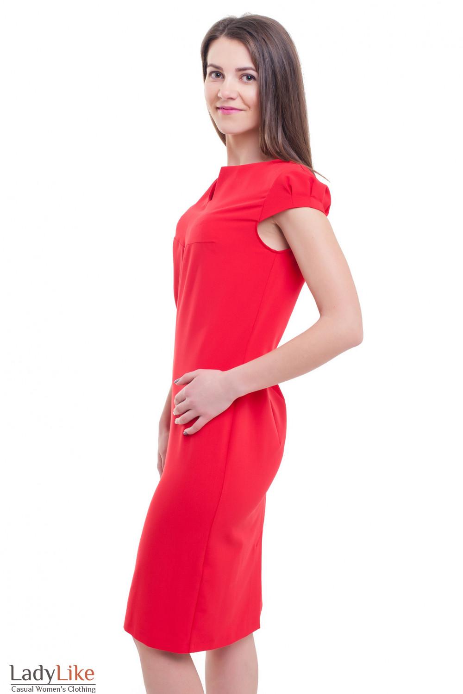 Купить красное нарядное платье с разрезом Деловая женская одежда фото