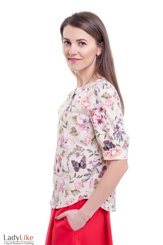 Купить летнюю блузку с защипами по горловине Деловая женская одежда фото