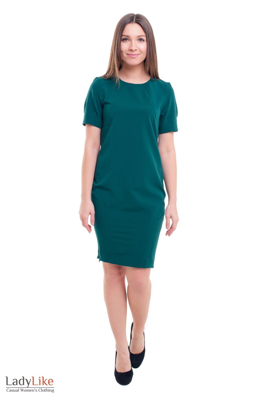 Купить зеленое платье-футляр с защипами Деловая женская одежда фото