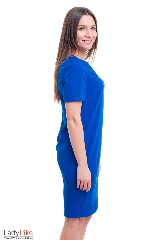 Купить платье электрик с защипами на юбке Деловая женская одежда фото