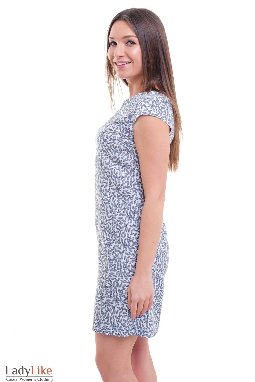 Купить белое платье в серый узор Деловая женская одежда фото
