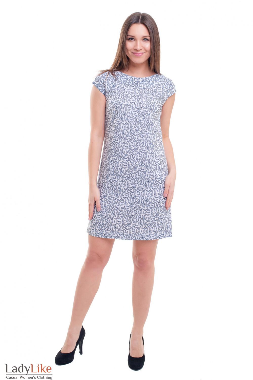 Купить платье белое в серый листок Деловая женская одежда фото