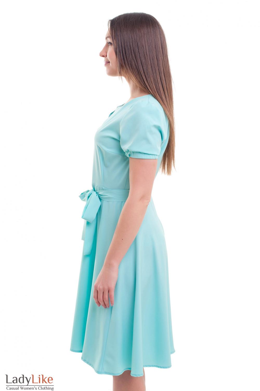 Купить платье бирюзовое с резинкой на рукаве Деловая женская одежда фото