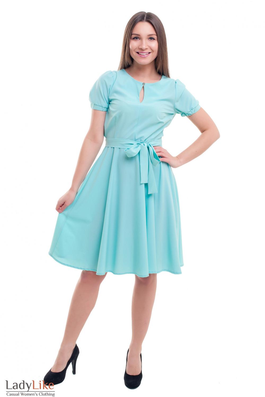 Купить летнее платье бирюзовое с резинкой на рукаве Деловая женская одежда фото