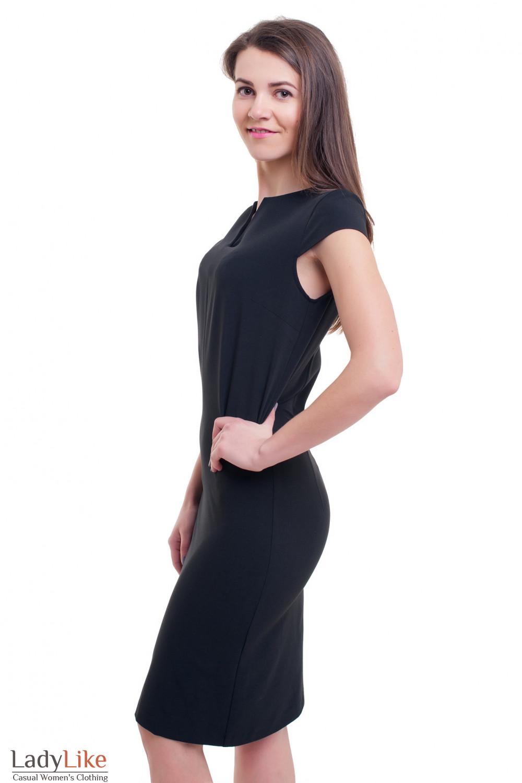 Купить строгое платье чёрное со строчкой впереди Деловая женская одежда фото