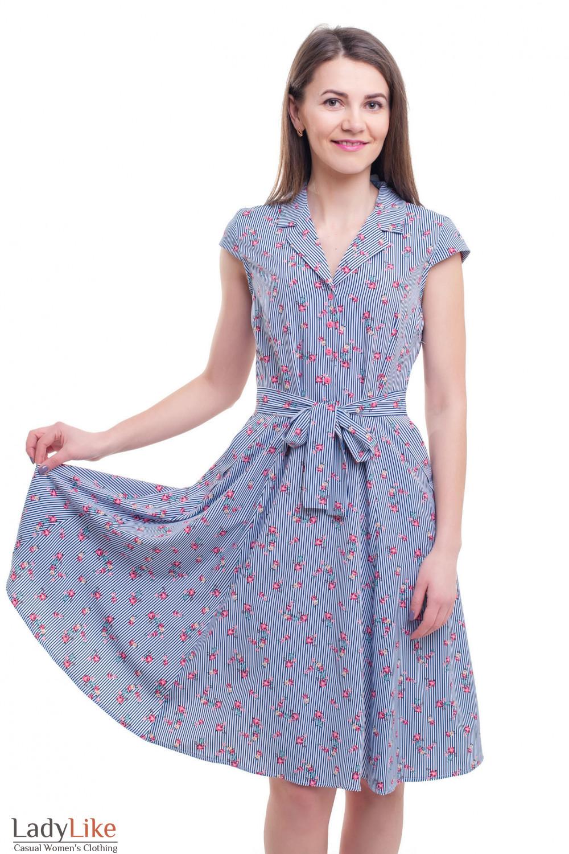 Платье летнее полосатое с цветами Деловая женская одежда фото