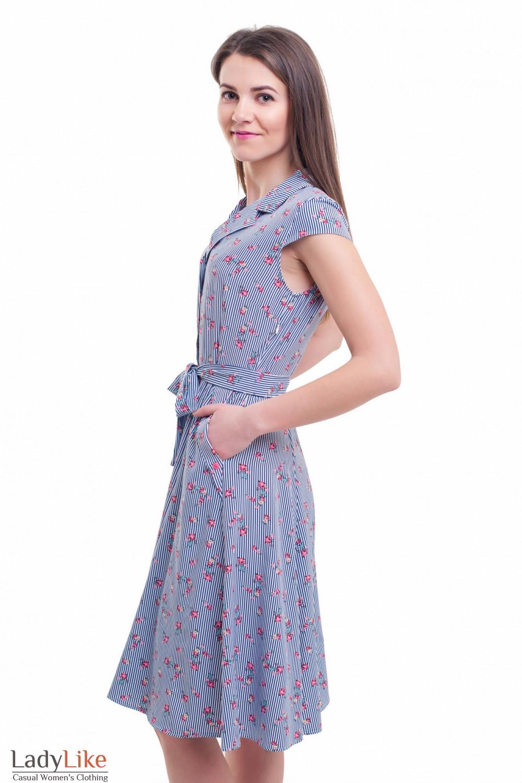 Купить легкое платье полосатое с цветами Деловая женская одежда фото