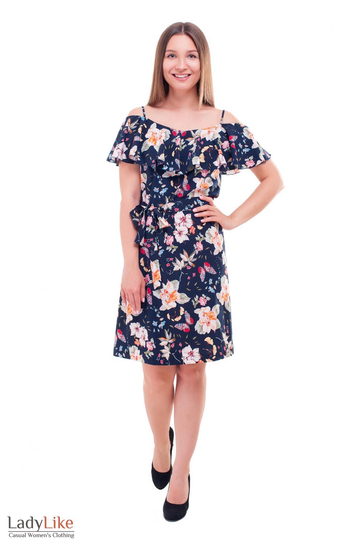 Купить летнее платье с широким воланом Деловая женская одежда фото