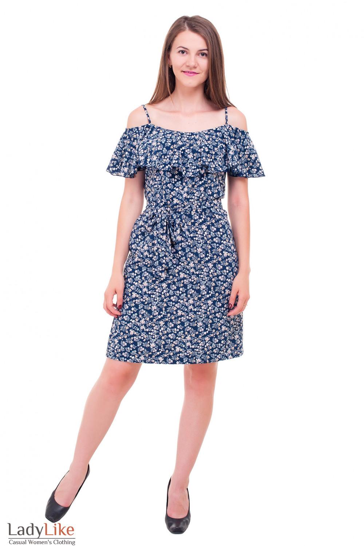 Купить платье летнее с широким воланом в цветочек Деловая женская одежда фото
