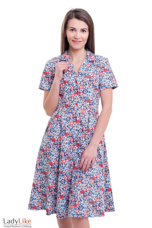 Платье летнее в сиреневые ромашки  Деловая женская одежда фото
