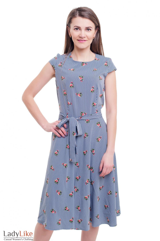 Платье миди в полоску Деловая женская одежда фото