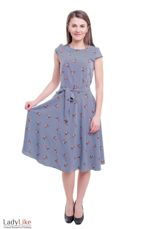 Купить модное платье миди в полоску Деловая женская одежда фото