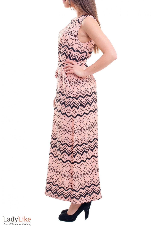 Купить платье персиковое в черный узор Деловая женская одежда фото