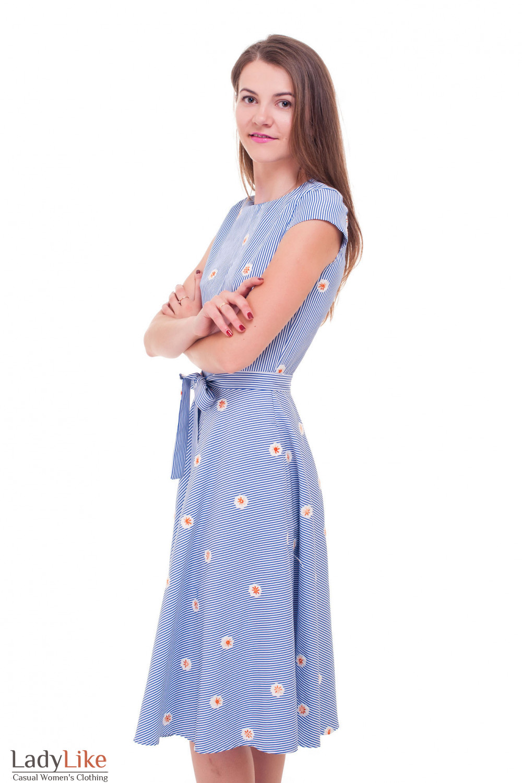 Купить платье с желтым вышитым цветком Деловая женская одежда фото