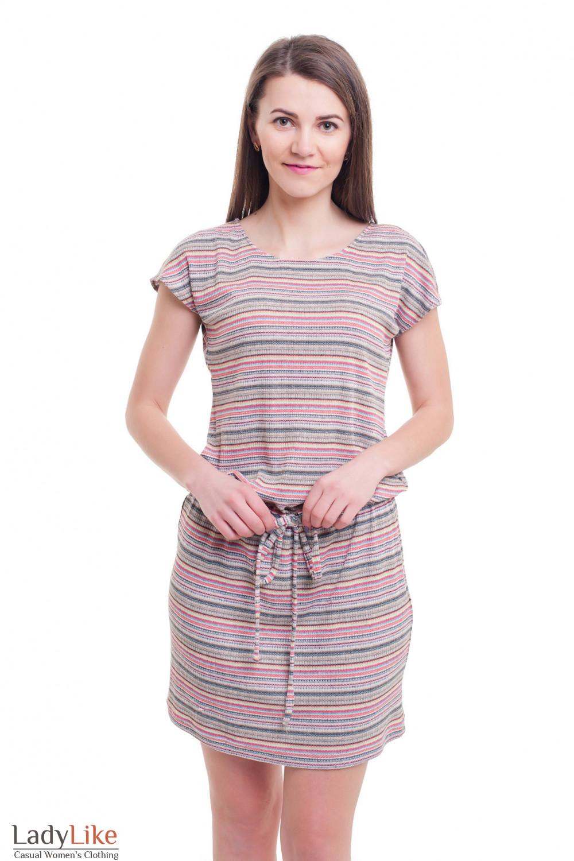 Платье полосатое трикотажное с кулисой Деловая женская одежда фото