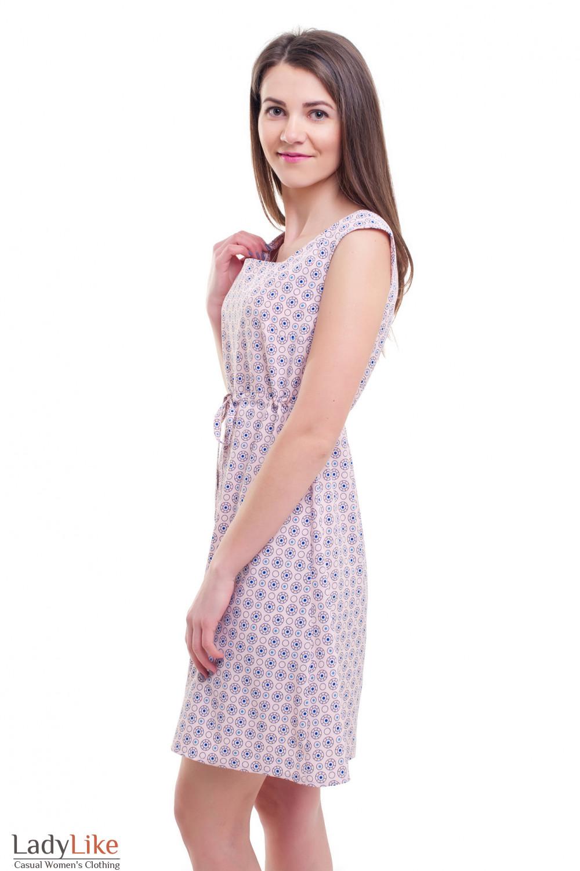 Купить летнее платье розовое с кулисой Деловая женская одежда фото