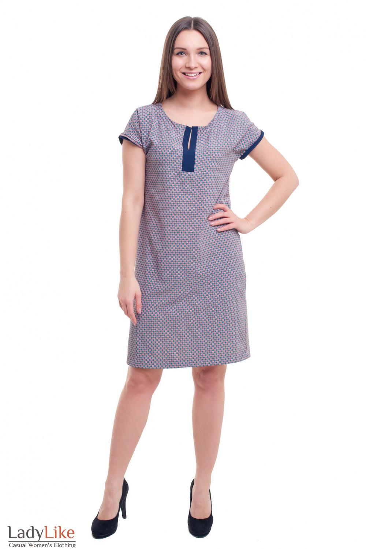 Купить платье розовое в голубой ромбик Деловая женская одежда фото