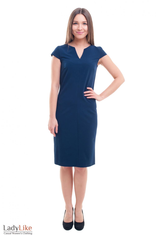 Купить платье-футляр синее со строчкой впереди Деловая женская одежда фото