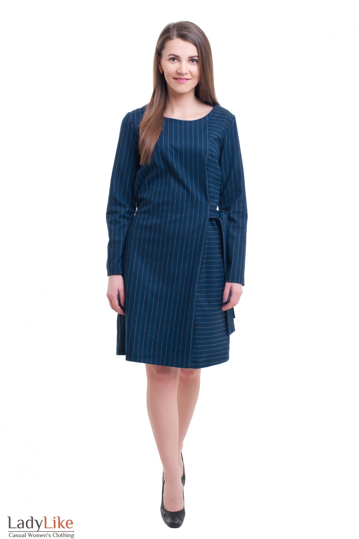 Купить платье синее в серую полоску Деловая женская одежда фото