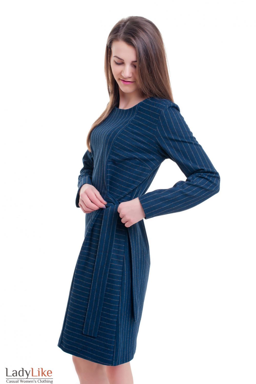 Купить теплое синее платье в серую полоску Деловая женская одежда фото