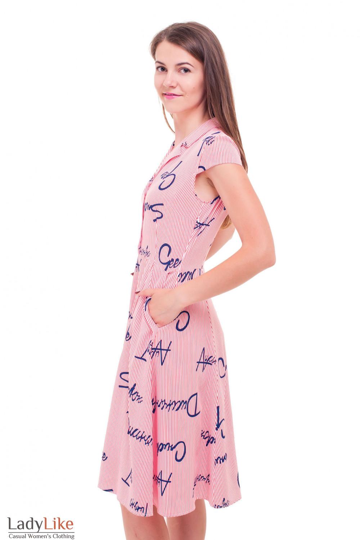 Купить платье в красную полоску с буквами Деловая женская одежда фото