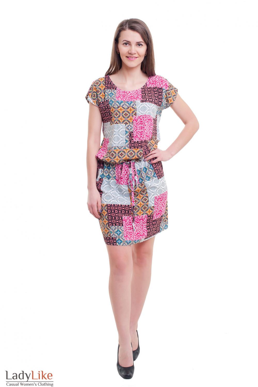 Купить платье в разноцветные квадраты с кулиской Деловая женская одежда фото