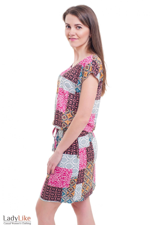 Купить платье в квадраты с кулиской Деловая женская одежда фото