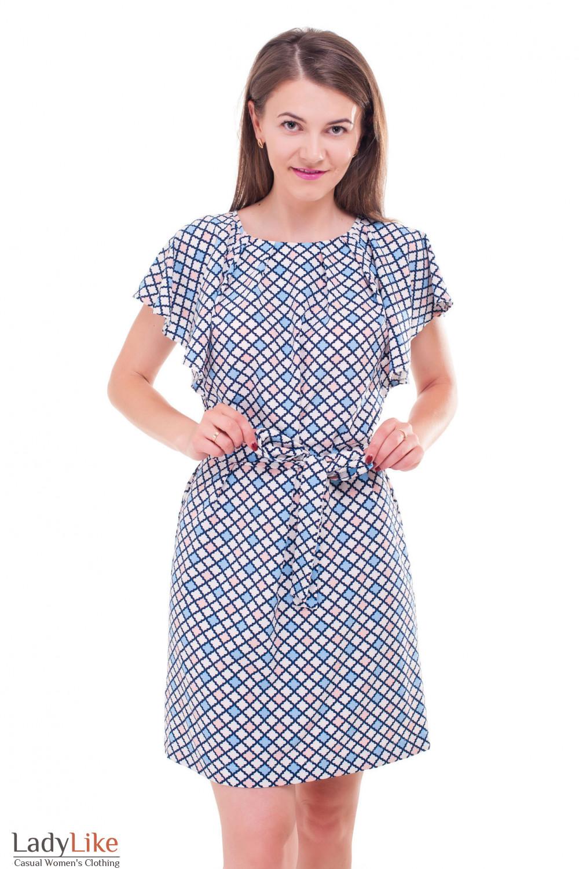 Платье в ромбик с крылышками  Деловая женская одежда фото