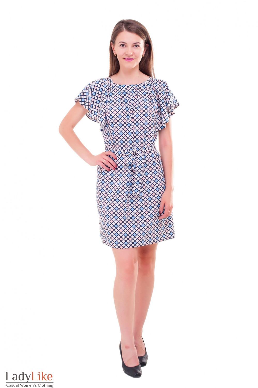 Купить платье в ромбик с крылышками Деловая женская одежда фото