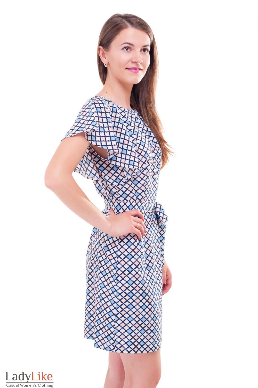 Купить летнее платье в ромбик с крылышками Деловая женская одежда фото