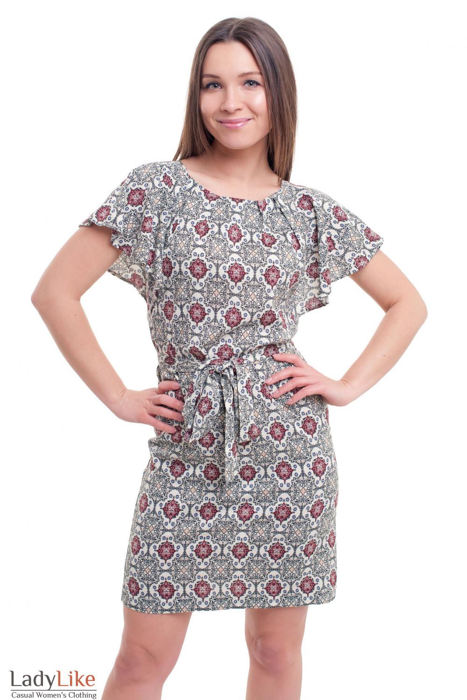Платье в ромбики коричневые Деловая женская одежда фото