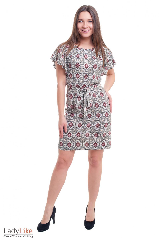 Купить штапельное платье в узор Деловая женская одежда фото
