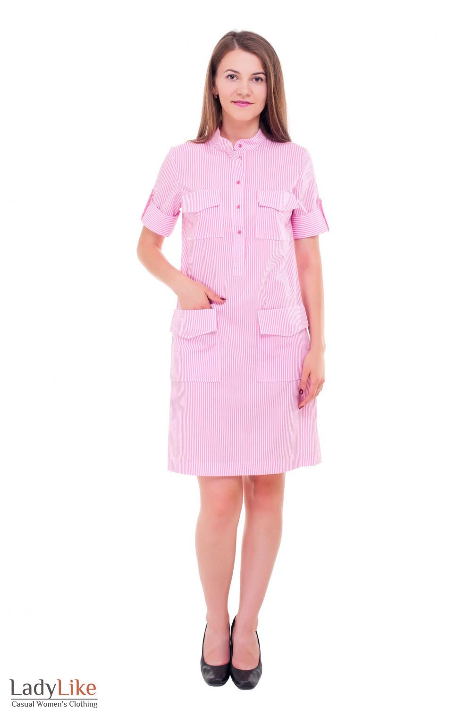 Купить летнее платье в розовую полоску Деловая женская одежда фото
