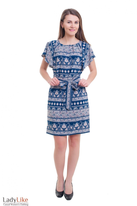 Купить платье в розовый узор с крылышками Деловая женская одежда фото