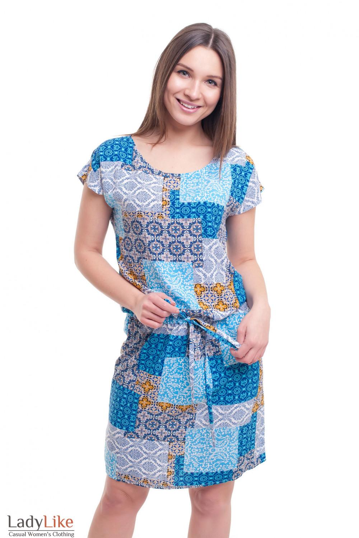 Платье в синие квадраты с кулисой Деловая женская одежда фото