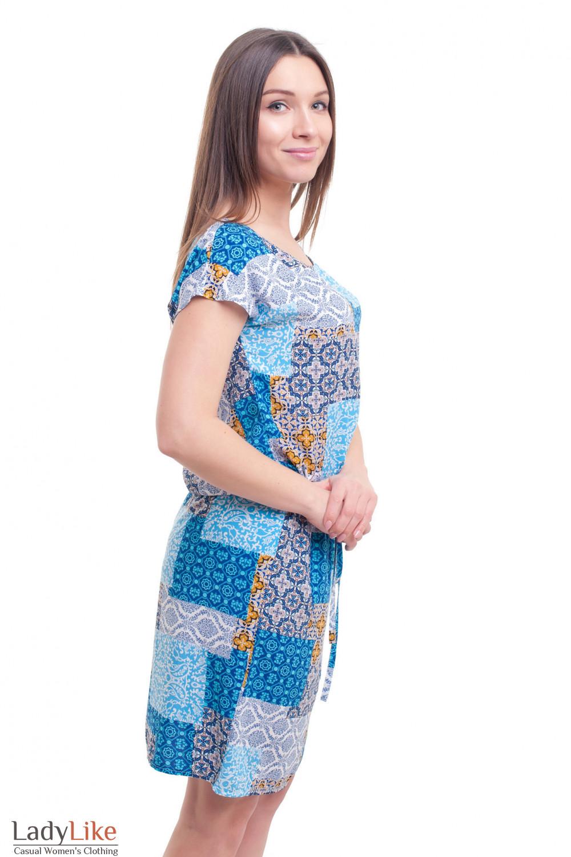Купить платье в синие квадраты с кулисой Деловая женская одежда фото