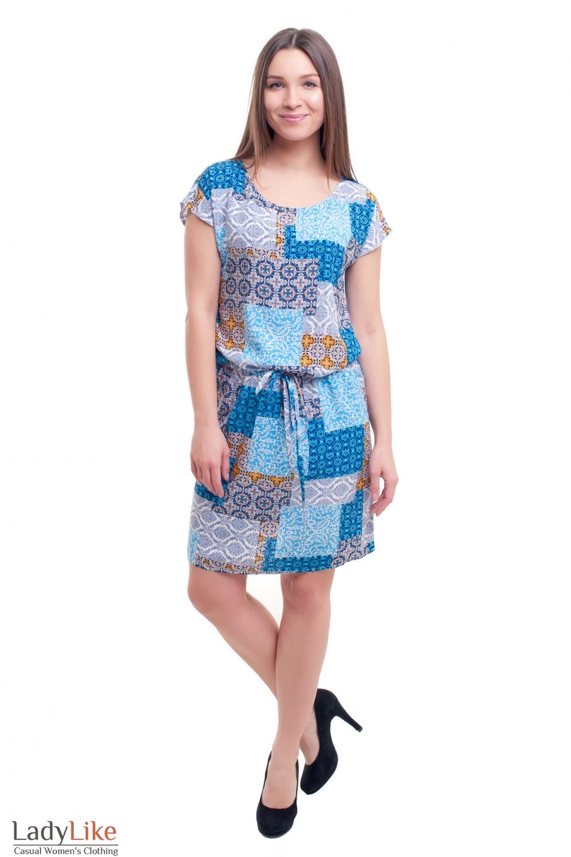 Купить штапельное платье в синие квадраты с кулисой Деловая женская одежда фото