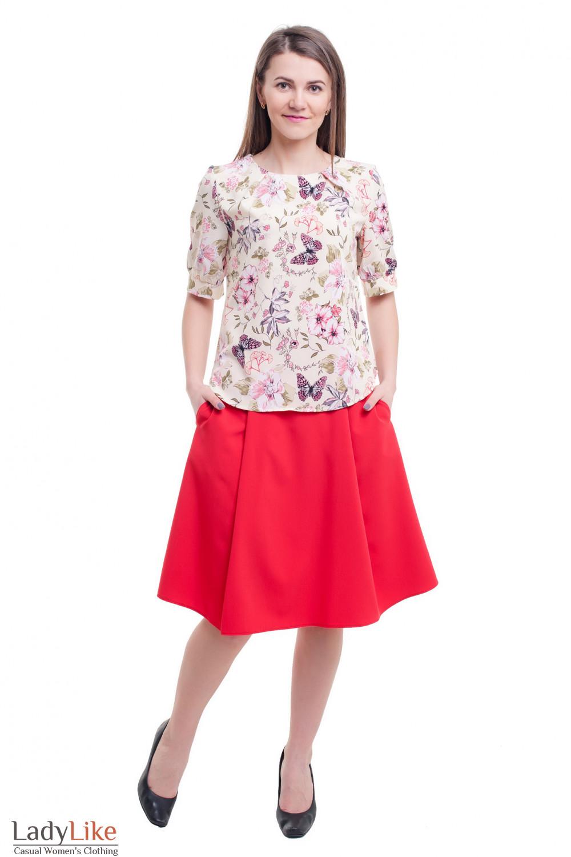 Купить яркую летнюю красную юбку Деловая женская одежда фото