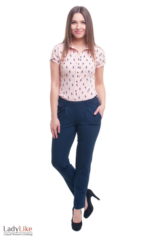 Купить зауженные синие брюки с резинкой Деловая женская одежда фото