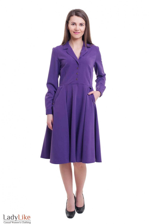Купить сиреневое платье с воротником Деловая женская одежда фото