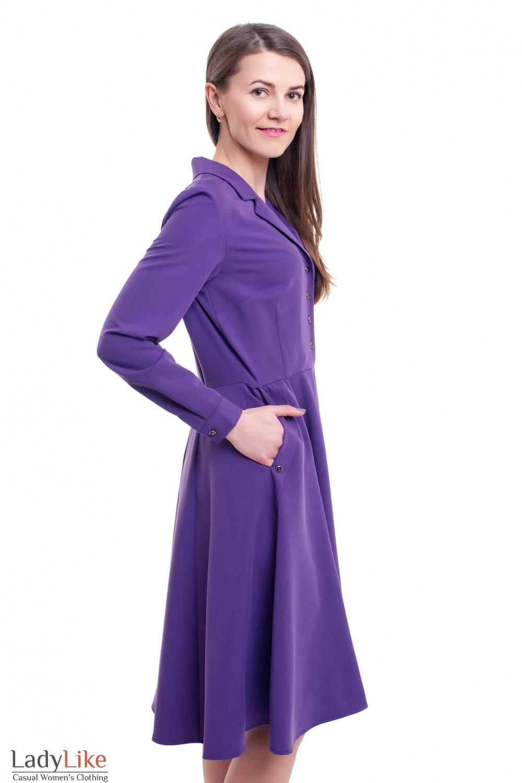 Купить яркое сиреневое платье с воротником Деловая женская одежда фото