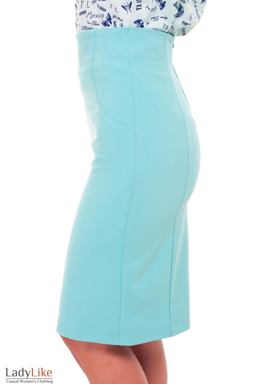 Купить бирюзовую юбку-карандаш без пояса Деловая женская одежда фото