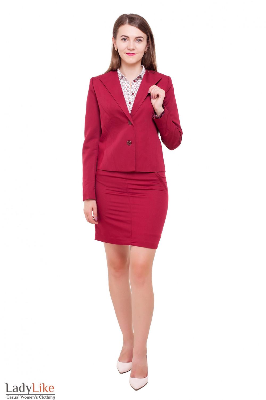Бордовый костюм Деловая женская одежда фото