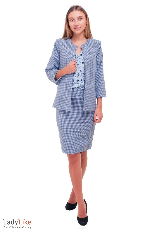 Купить женский клетчатый костюм Деловая женская одежда фото