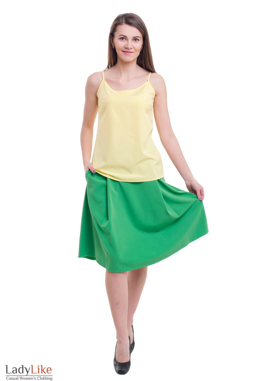 Купить летнюю юбку зеленую пышную Деловая женская одежда фото