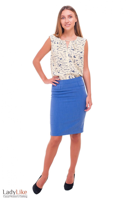 Купить юбку синюю под джинс Деловая женская одежда фото