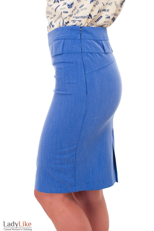 Купить юбку синюю Деловая женская одежда фото