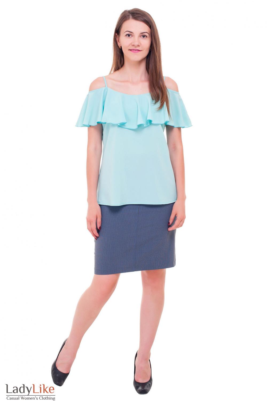 Купить плотную юбку в синюю мелкую лапку Деловая женская одежда фото