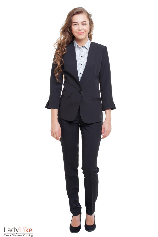 Черный брючный костюм Деловая женская одежда фото